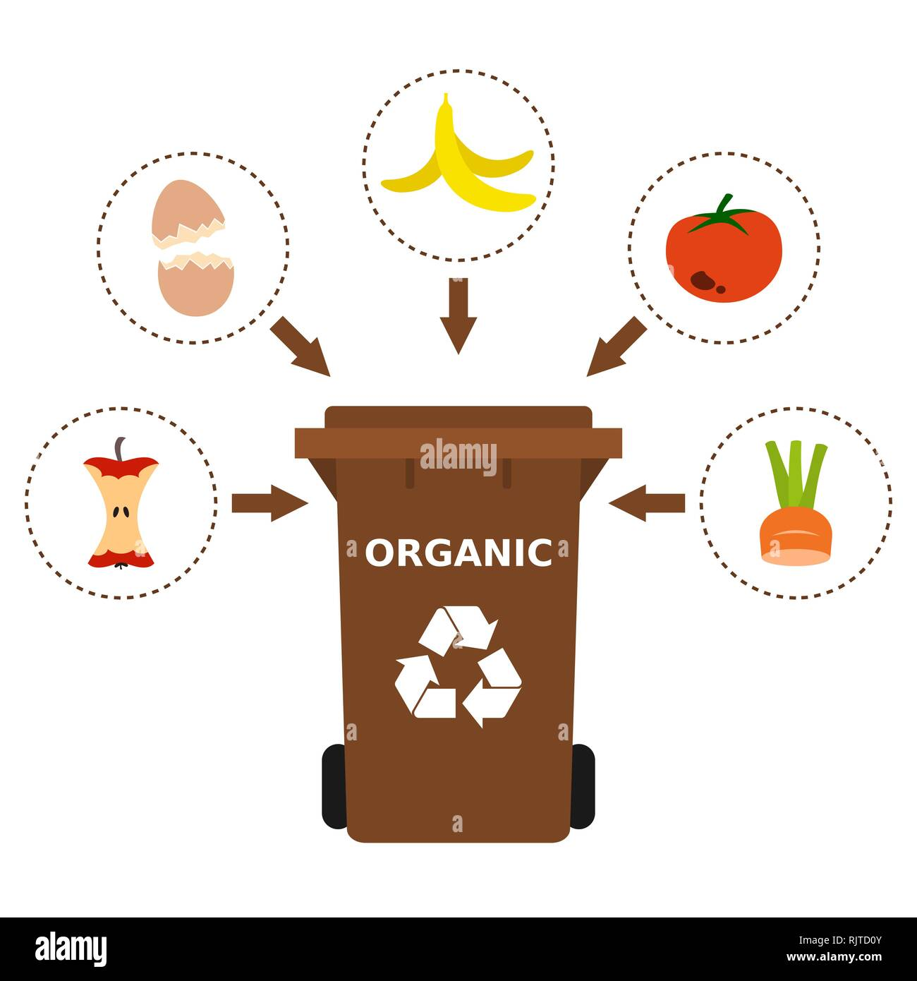 Brown Trash Can With Organic Waste Suitable For Recycling