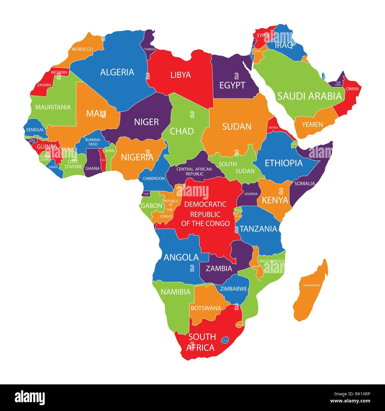 Vector Illustration Africa Map With Countries Names