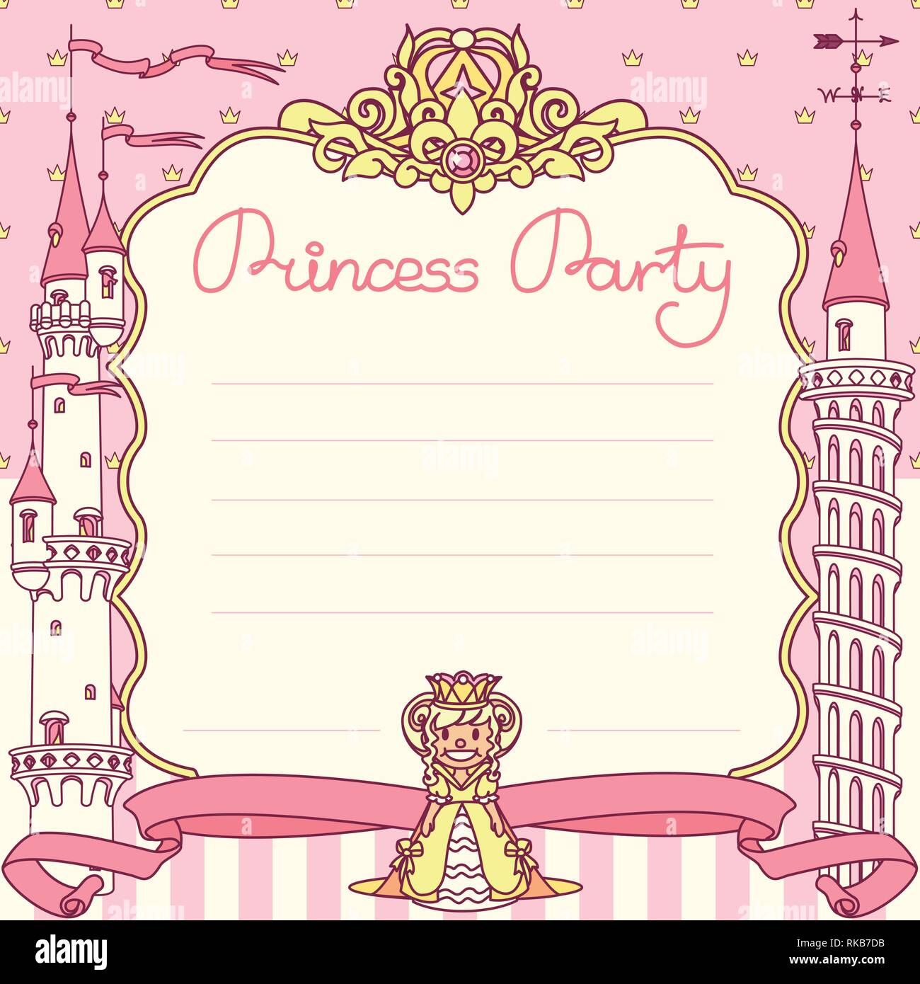 https www alamy com vector princess party invitation template concept image235660583 html