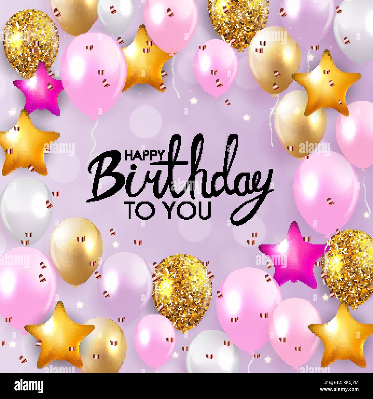 Glossy Happy Birthday Balloons Background Vector Illustration Eps10 Stock Vector Image Art Alamy