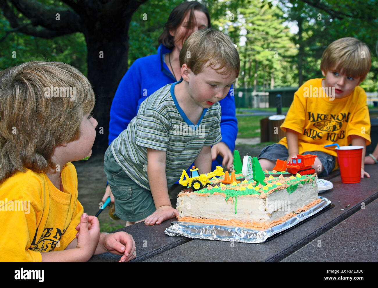 4 Year Old Boys Birthday Cake Truck Decorations Party Picnic Celebration Outdoors Dessert Fun Sweet Treat Food Summer Horizontal Mr Stock Photo Alamy