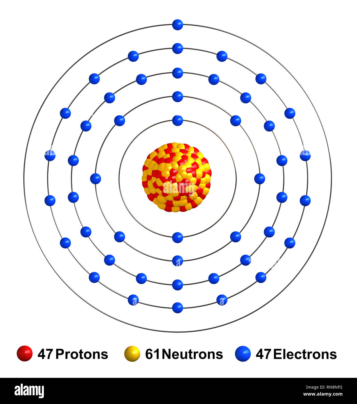 3d Render Of Atom Structure Of Silver Isolated Over White Background Protons Are Represented As