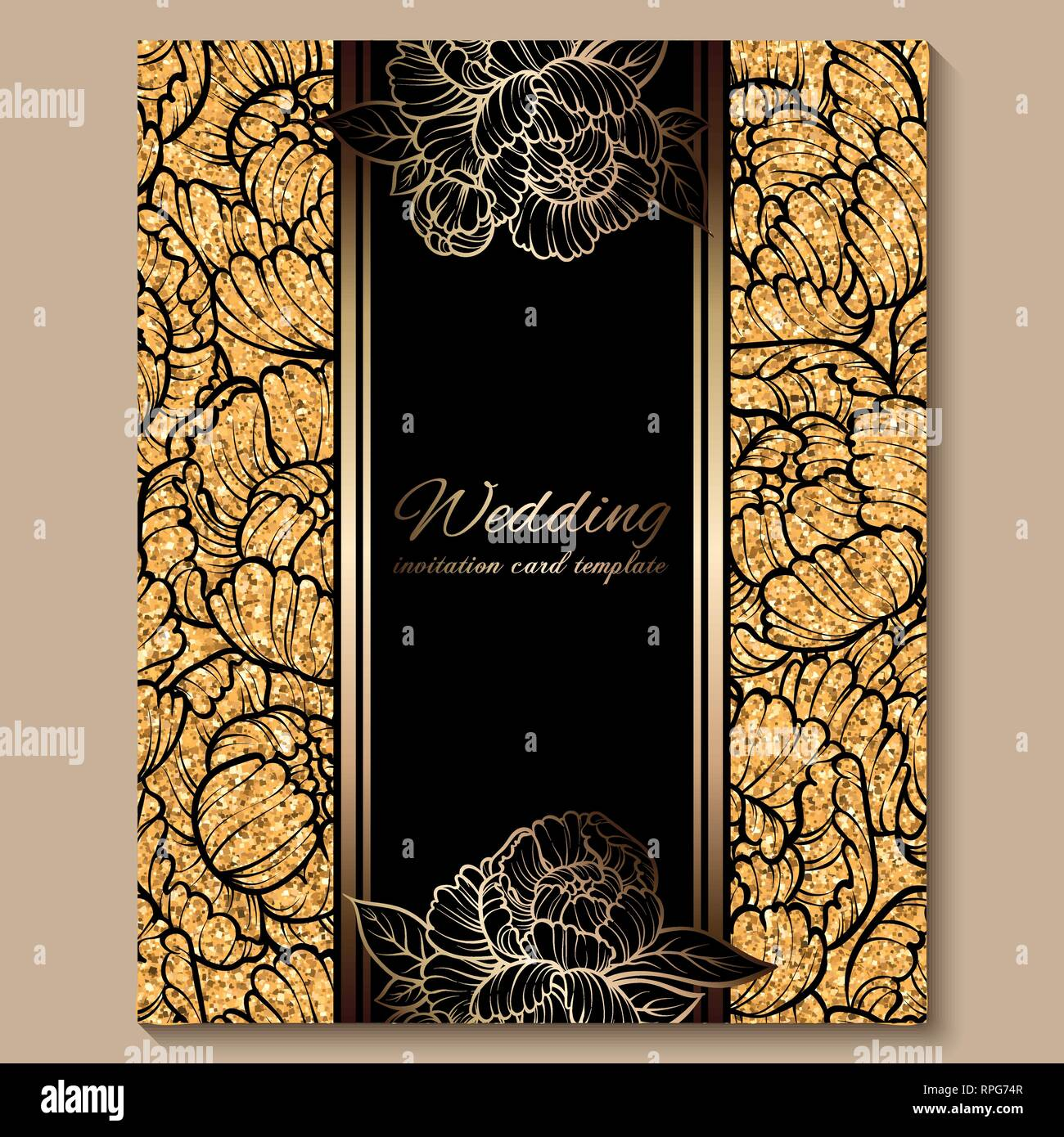 https www alamy com antique royal luxury wedding invitation card golden glitter background with frame and place for text black lacy foliage made of roses or peonies image237614071 html