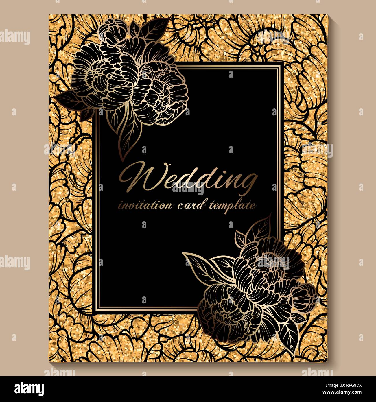 https www alamy com antique royal luxury wedding invitation card golden glitter background with frame and place for text black lacy foliage made of roses or peonies image237615110 html