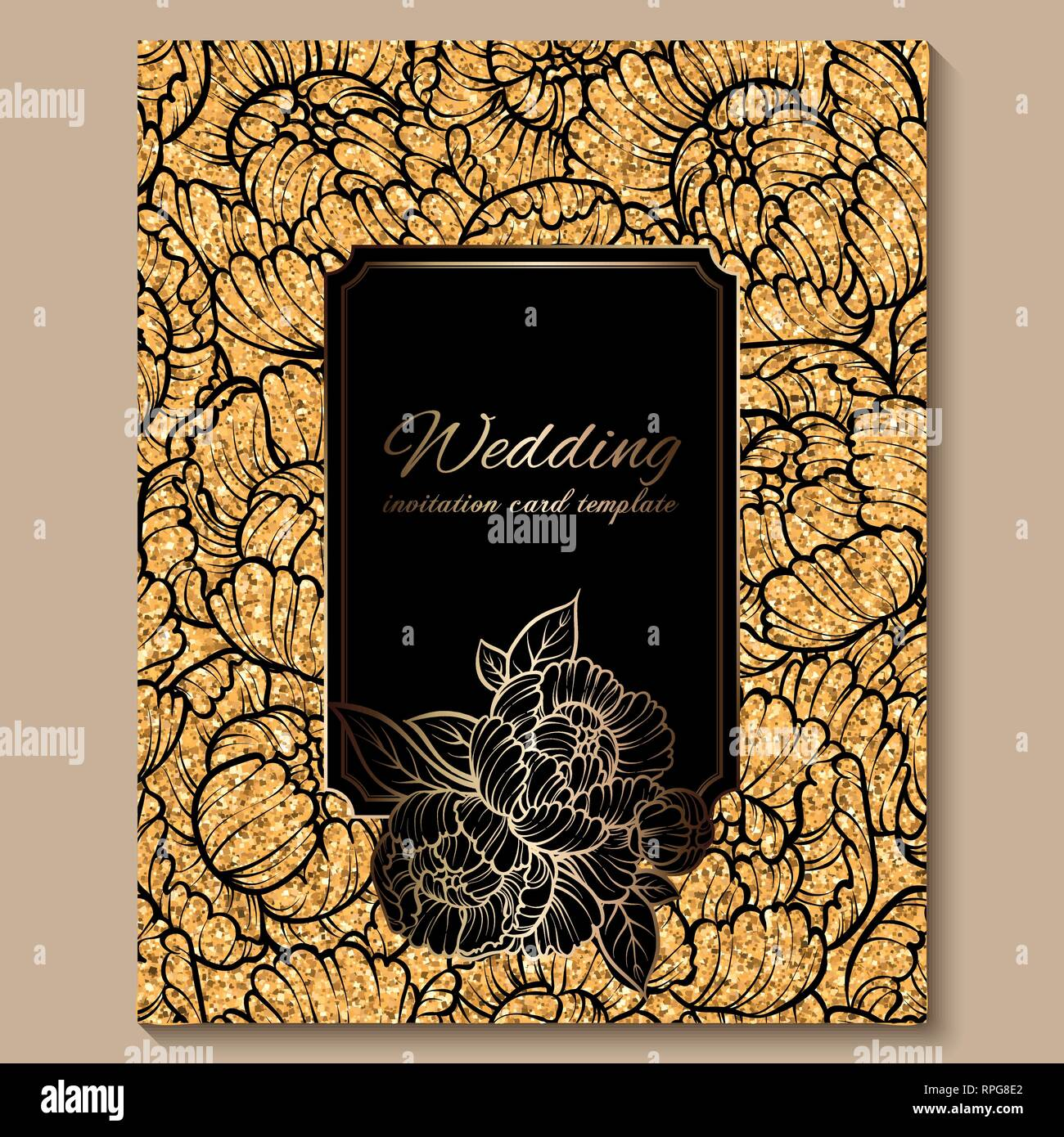 https www alamy com antique royal luxury wedding invitation card golden glitter background with frame and place for text black lacy foliage made of roses or peonies image237615114 html