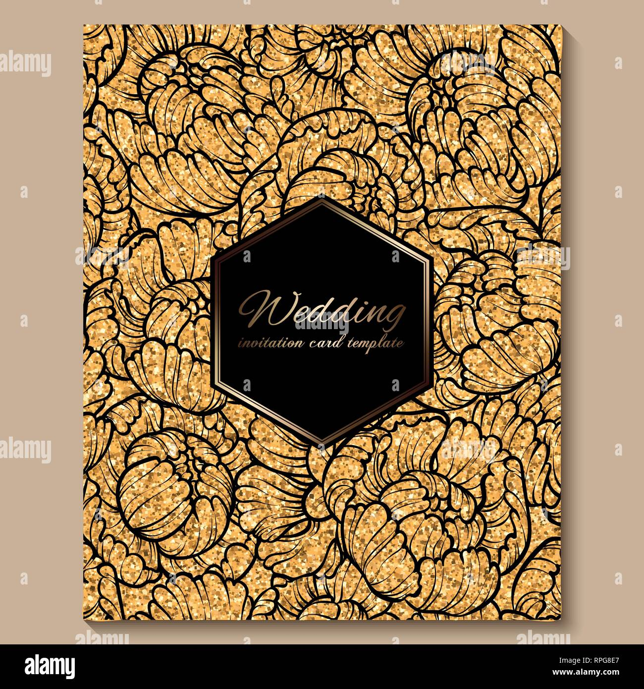 https www alamy com antique royal luxury wedding invitation card golden glitter background with frame and place for text black lacy foliage made of roses or peonies image237615119 html