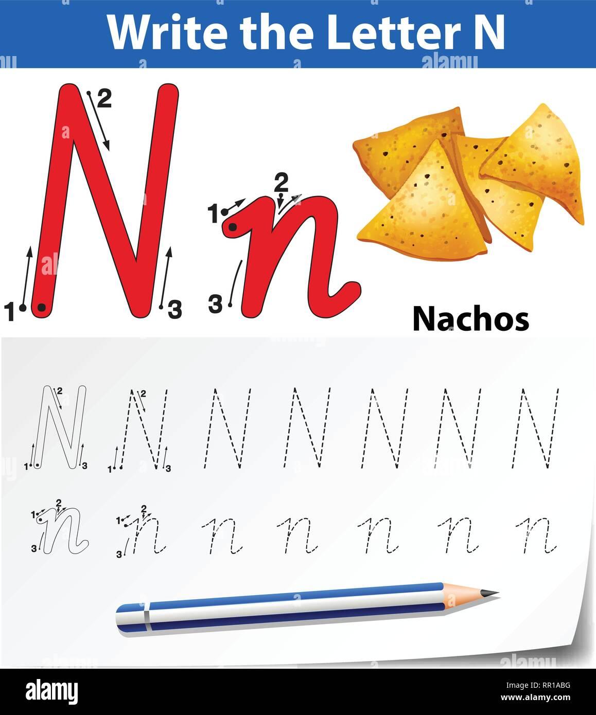 Letter N Tracing Alphabet Worksheets Illustration Stock