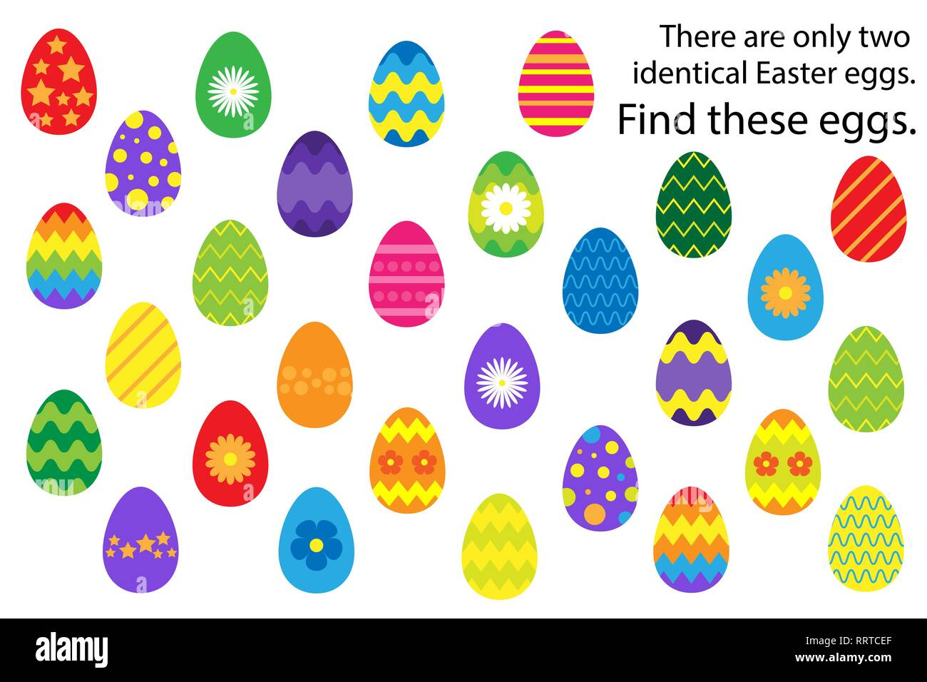 Find 2 Identical Decoration Easter Egg Fun Education
