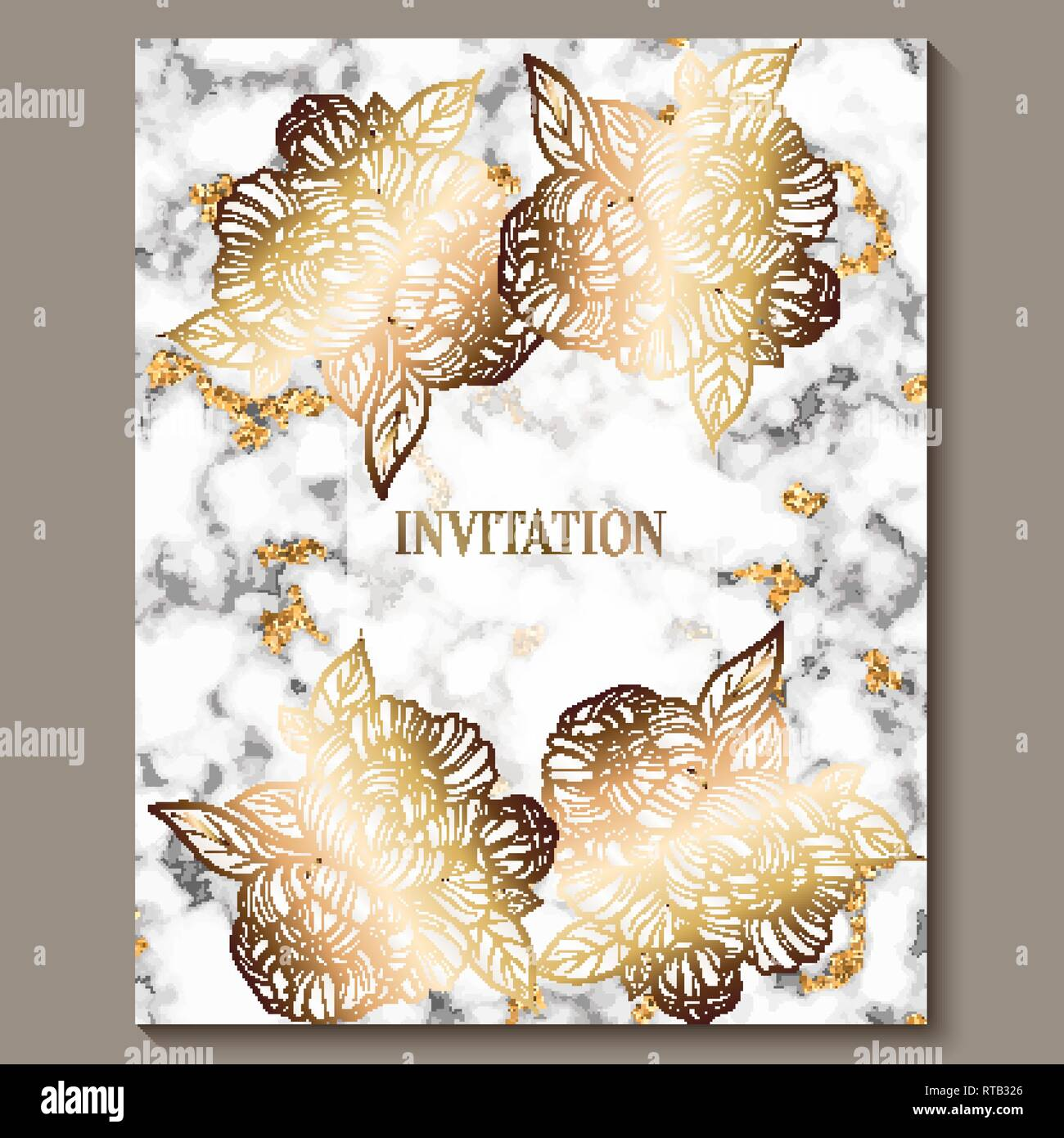 https www alamy com luxury and elegant wedding invitation cards with marble texture and gold glitter background modern wedding invitation decorated with peony flowers image238730414 html