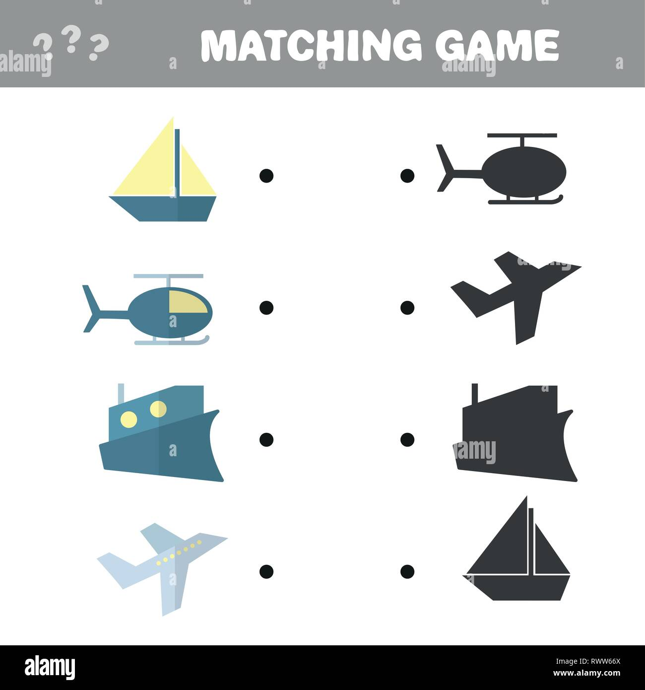 Cartoon Illustration Education Shadow Matching Stock
