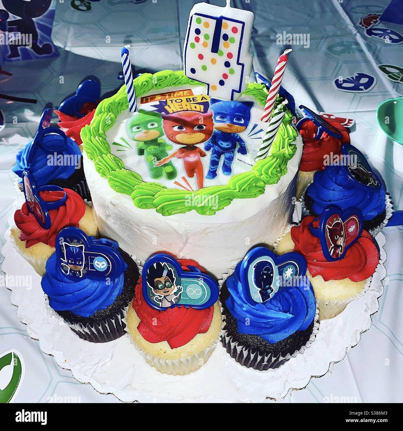 Pj Masks Birthday Cake And Party Stock Photo Alamy