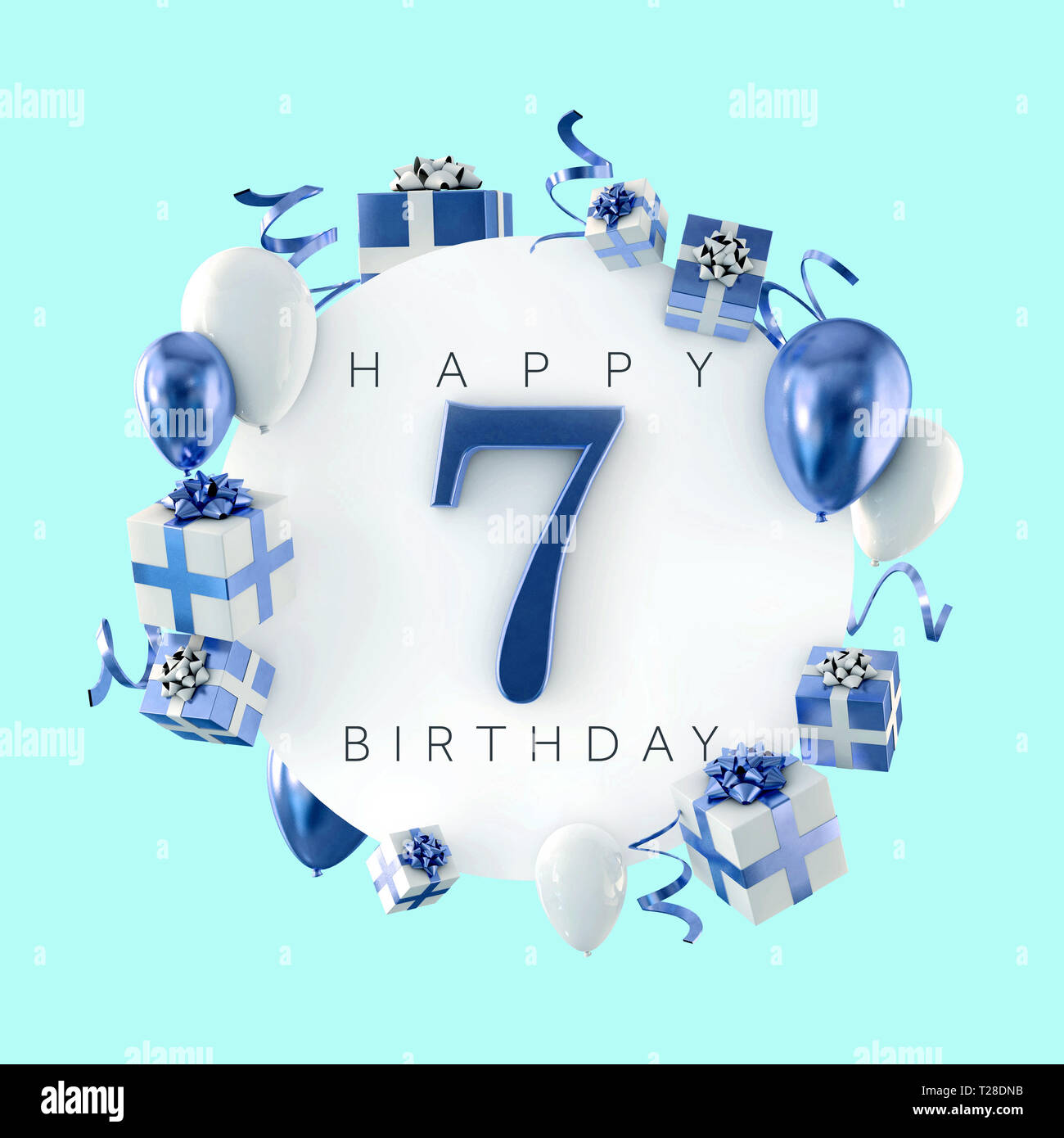 Happy 7th Birthday Party Composition With Balloons And Presents 3d Render Stock Photo Alamy