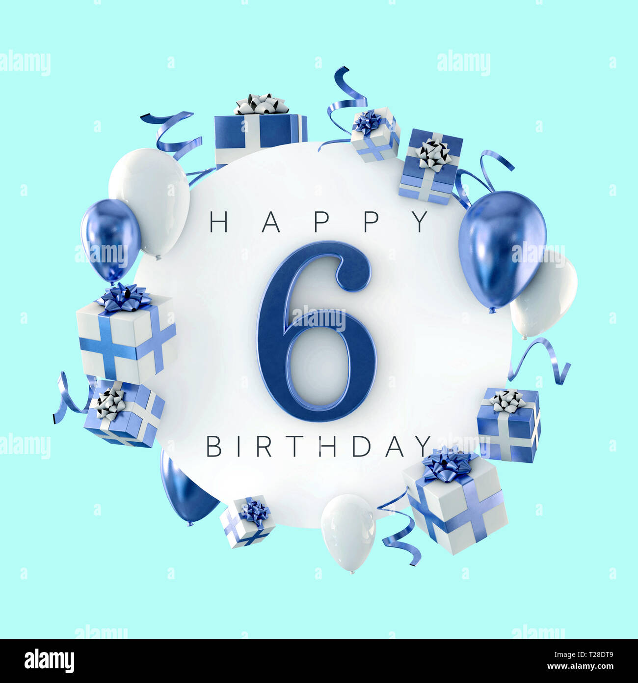 Happy 6th Birthday Party Composition With Balloons And Presents 3d Render Stock Photo Alamy
