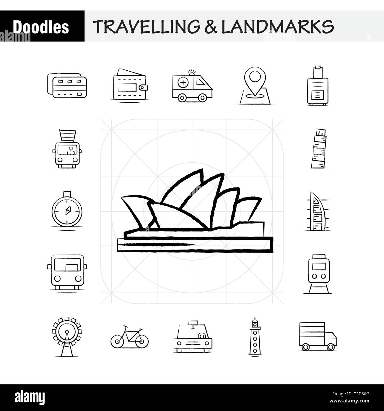 Travelling And Landmarks Hand Drawn Icon For Web Print And Mobile
