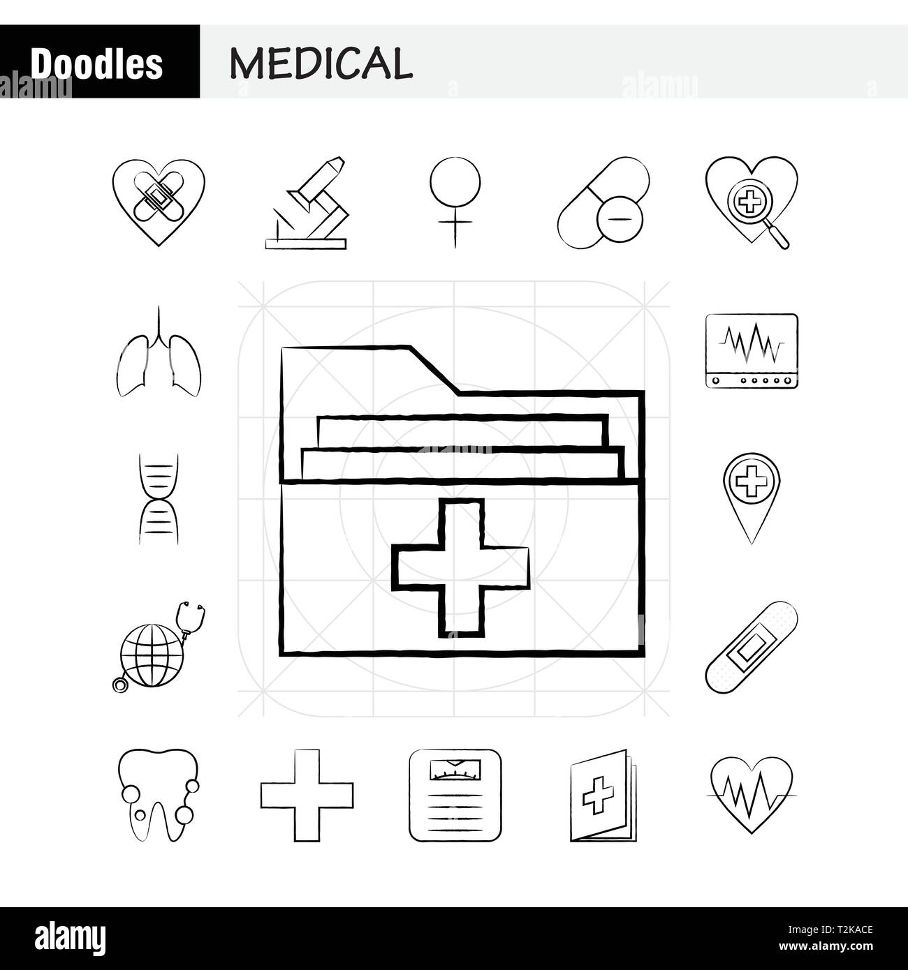 Medical Hand Drawn Icons Set For Infographics Mobile Ux Ui Kit