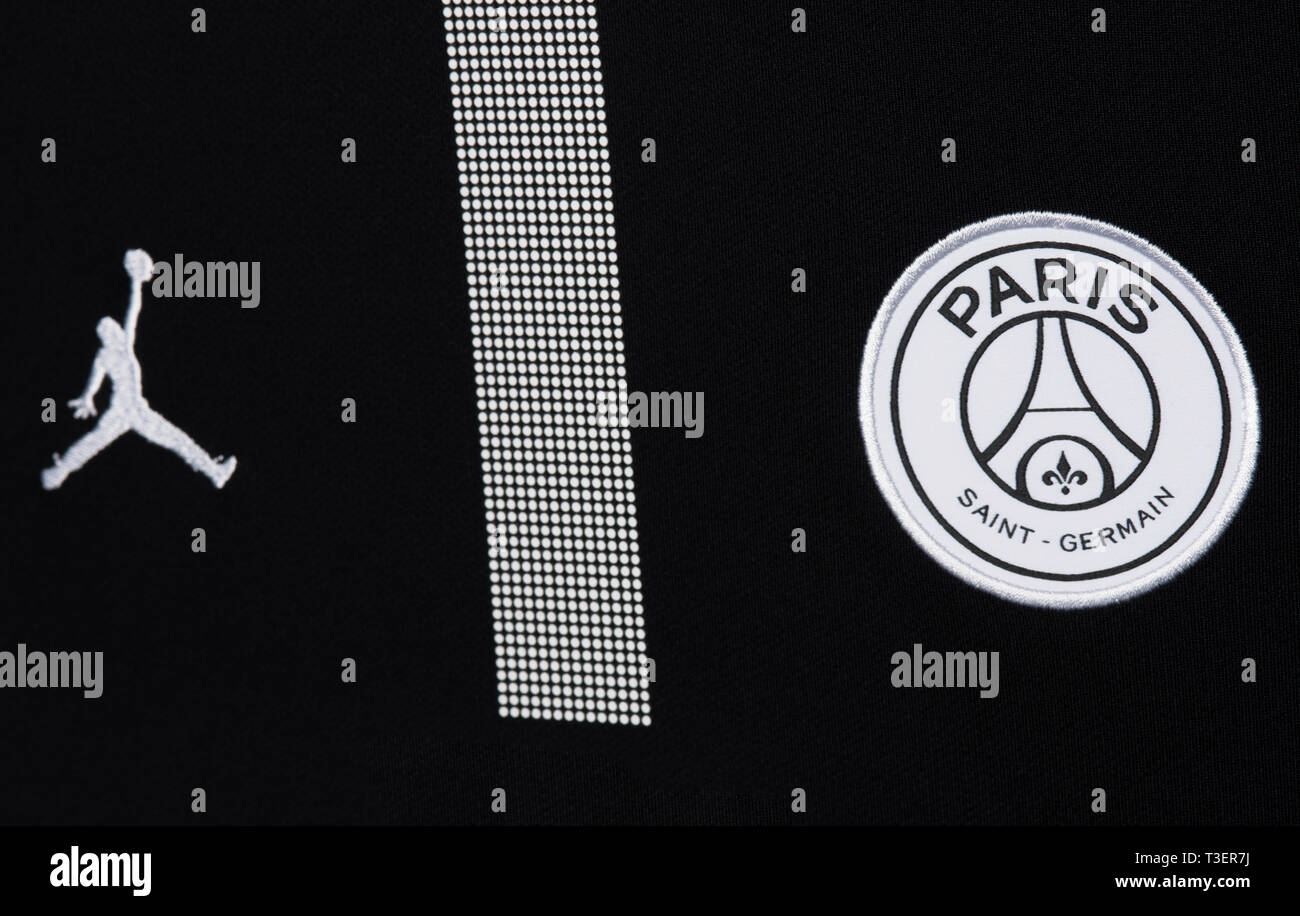 https www alamy com close up of paris saint germain x jordan uefa champions league jersey 201819 image243114694 html