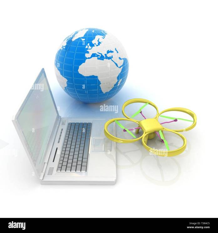 Drone Or Quadrocopter With Camera With Laptop Network Online Buy Internet Shopping Smart Home 3d Render Stock Photo Alamy