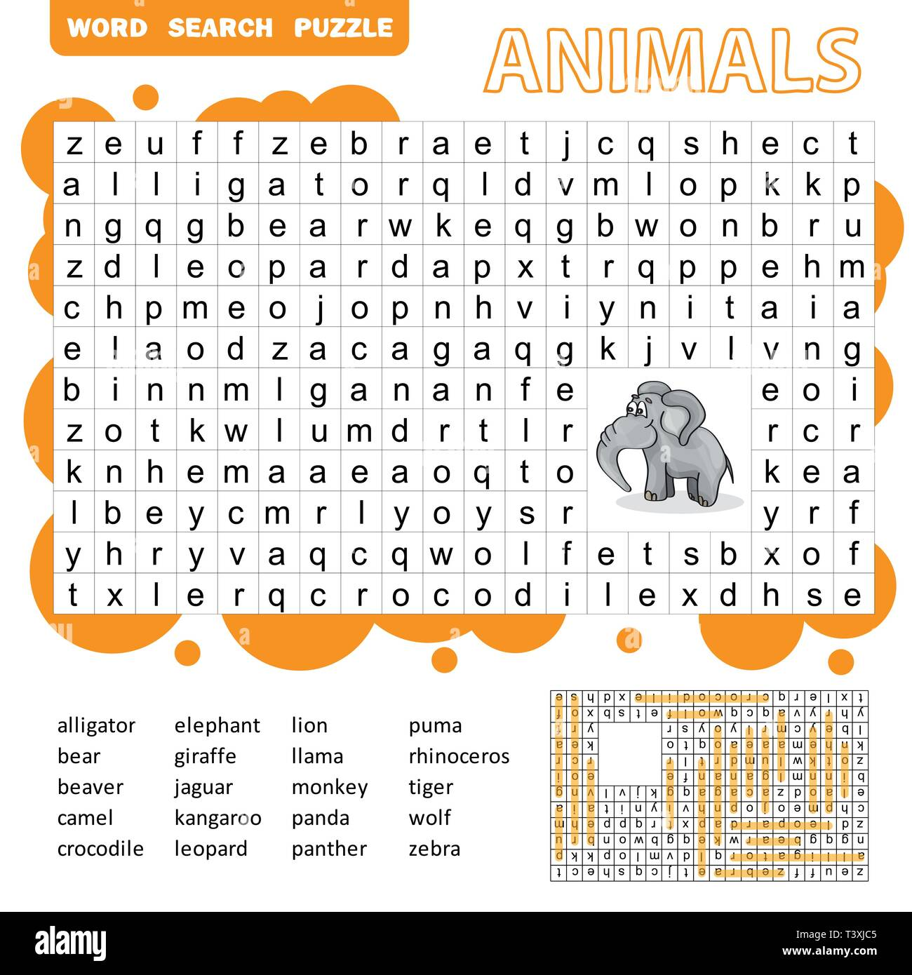 Words Search Puzzle Game Of Animals For Preschool Kids