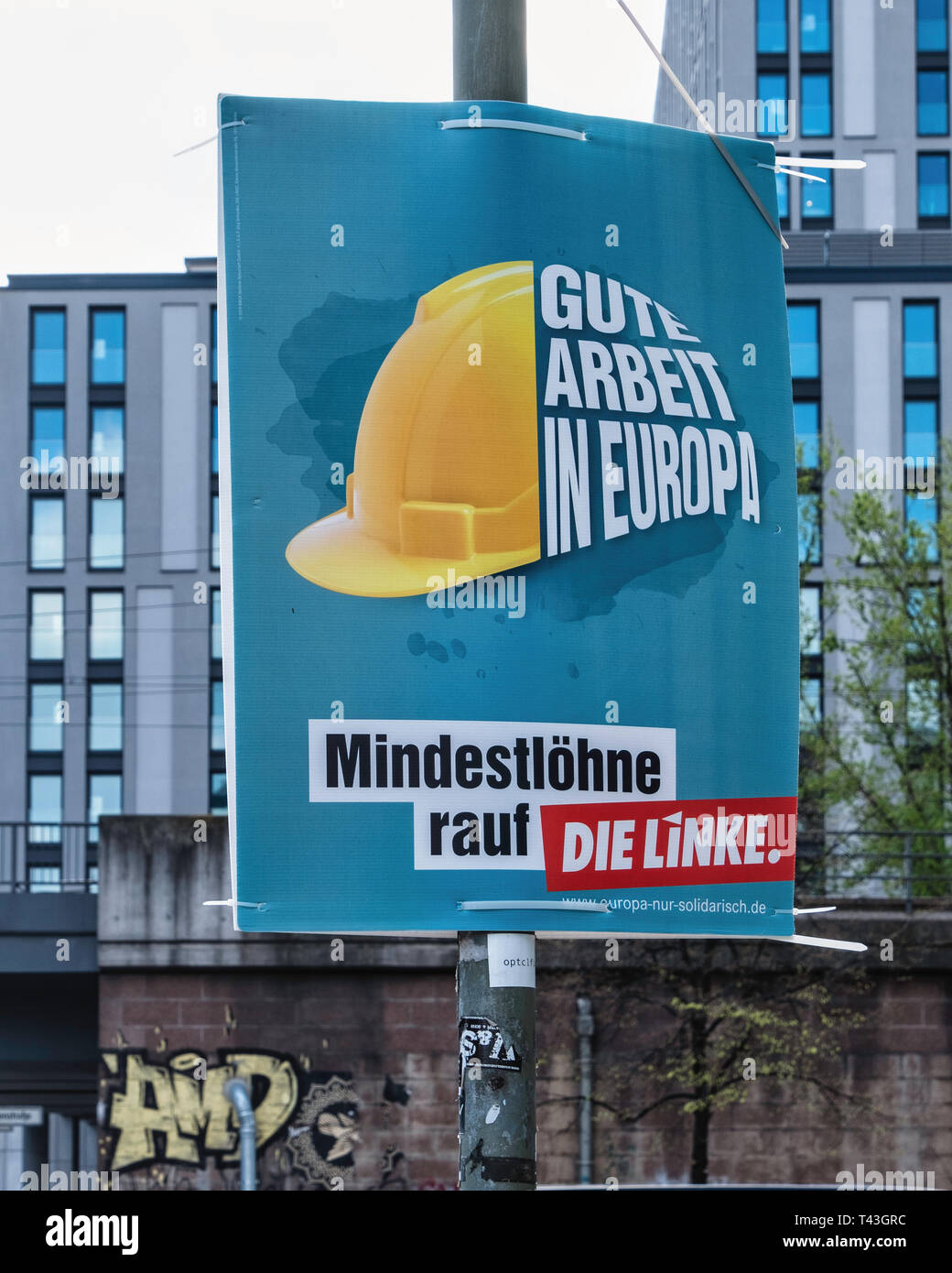 https www alamy com berlin election poster european elections 23 26 may 2019 die linke political party poster calls for minimum wage image243482832 html