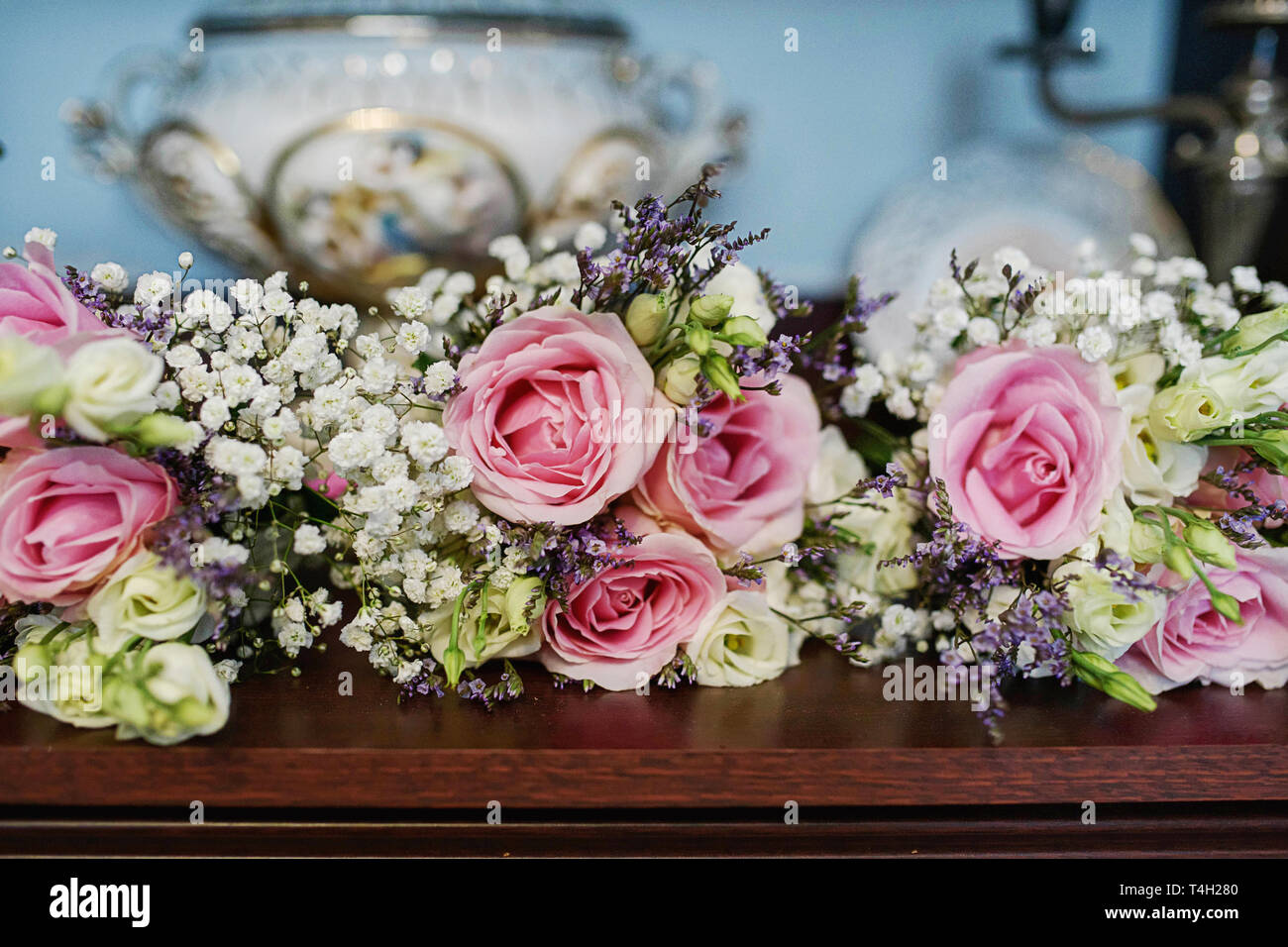 https www alamy com large centerpiece with pink and white roses and fresh foliage suitable as a decor for table centerpieces at a wedding reception ceremony or at party image243778752 html