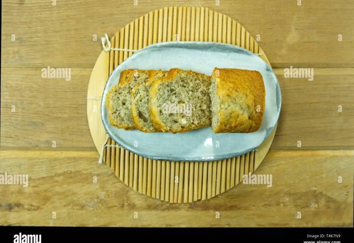 Banana Cake On Japanese Style White Plate Stock Photo 243826949 Alamy