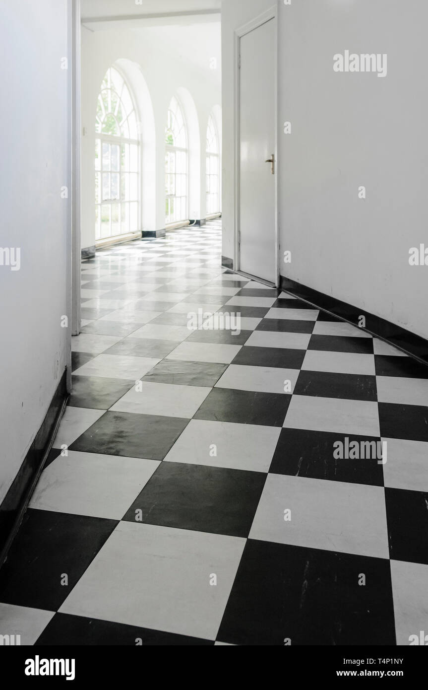 https www alamy com white art deco hall with black and white floor tiles image243888119 html