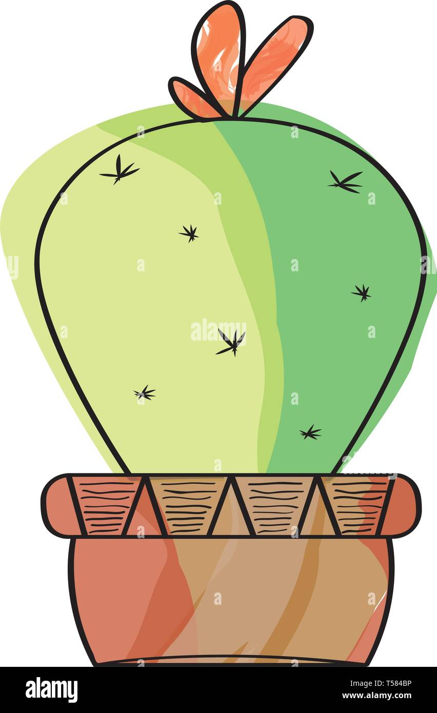 Watercolor Cactus In A Pot Plant Stock Vector Art Illustration