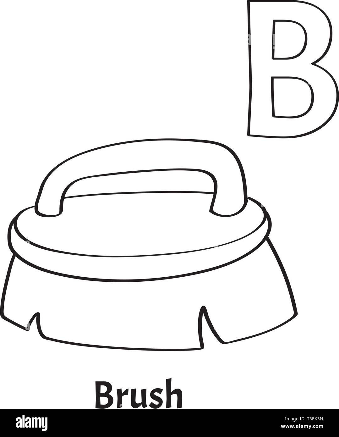 Vector Alphabet Letter B Coloring Page Brush Stock Vector Image Art Alamy