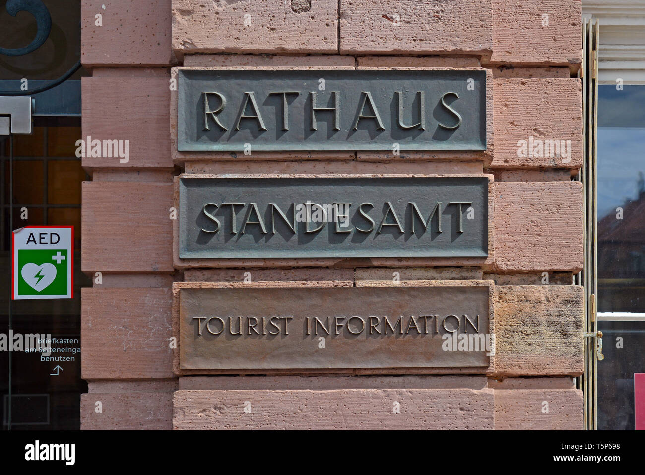 Sign Saying Rathaus Meaning City Hall Standesamt Meaning