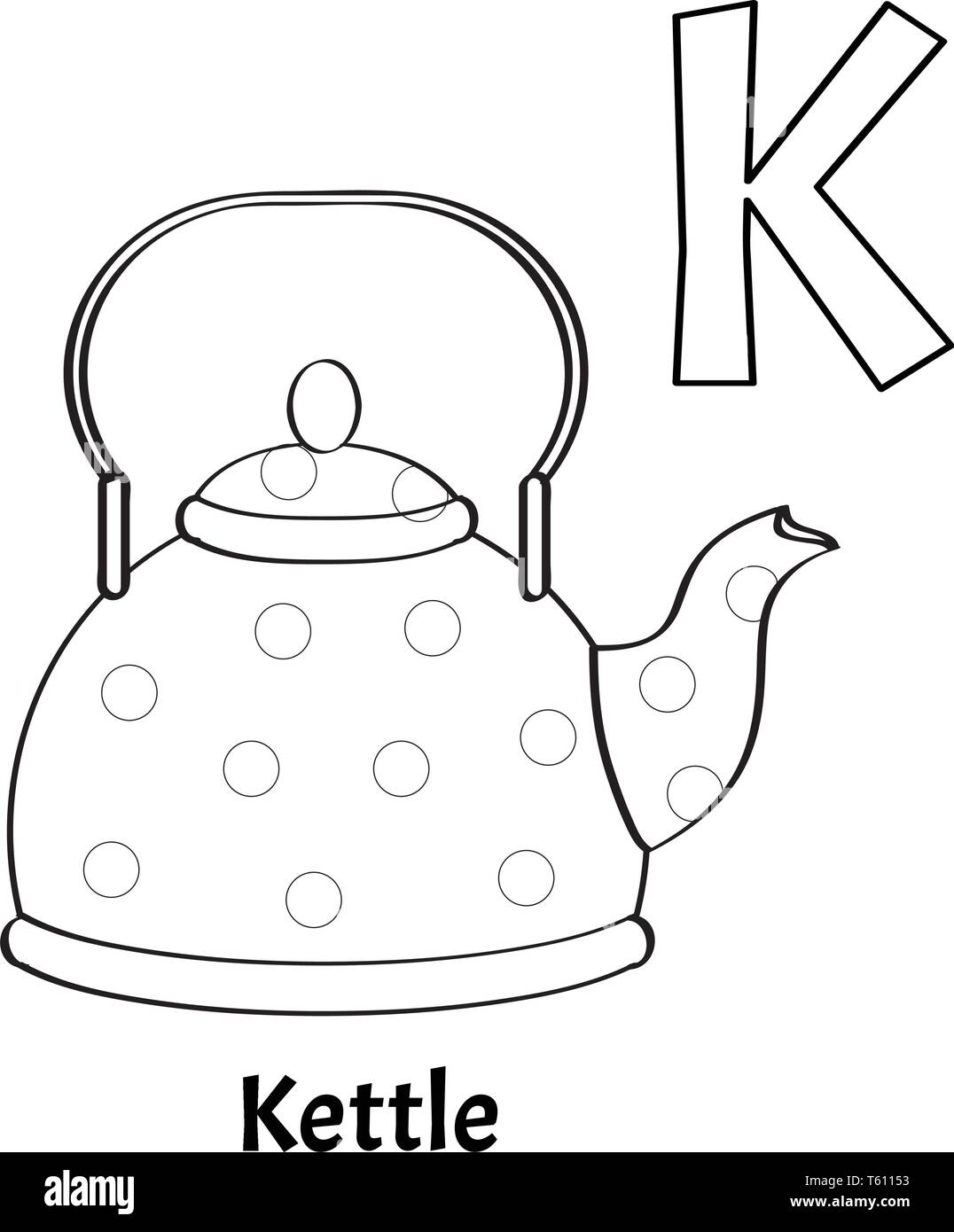 Vector Alphabet Letter K Coloring Page Kettle Stock