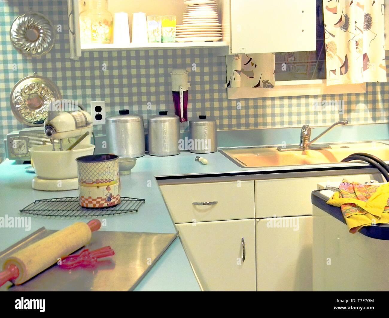 https www alamy com turquoise retro kitchen with baking tools image245561028 html