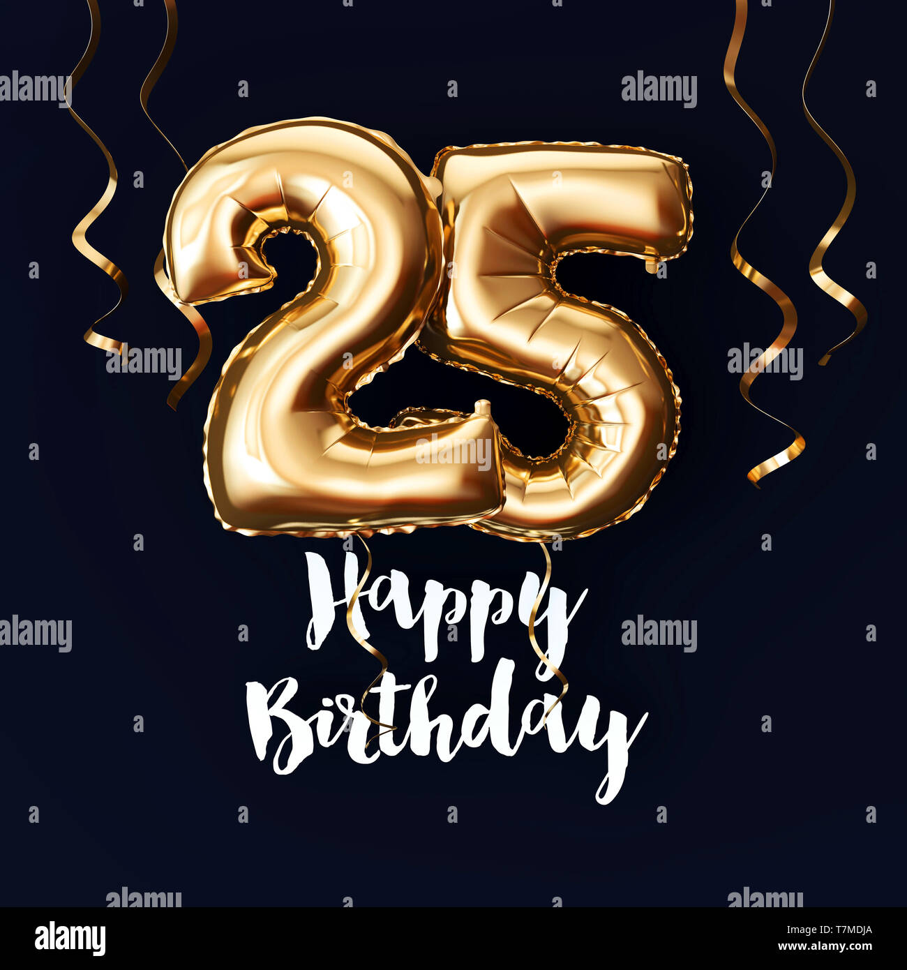 Happy 25th Birthday Gold Foil Balloon Background With Ribbons 3d Render Stock Photo Alamy