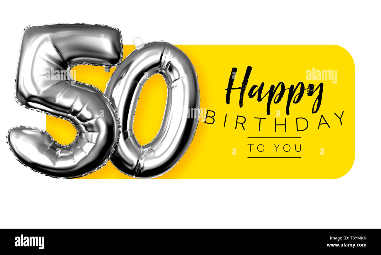 Happy 50th Birthday Yellow Greeting Background 3d Rendering Stock Photo Alamy