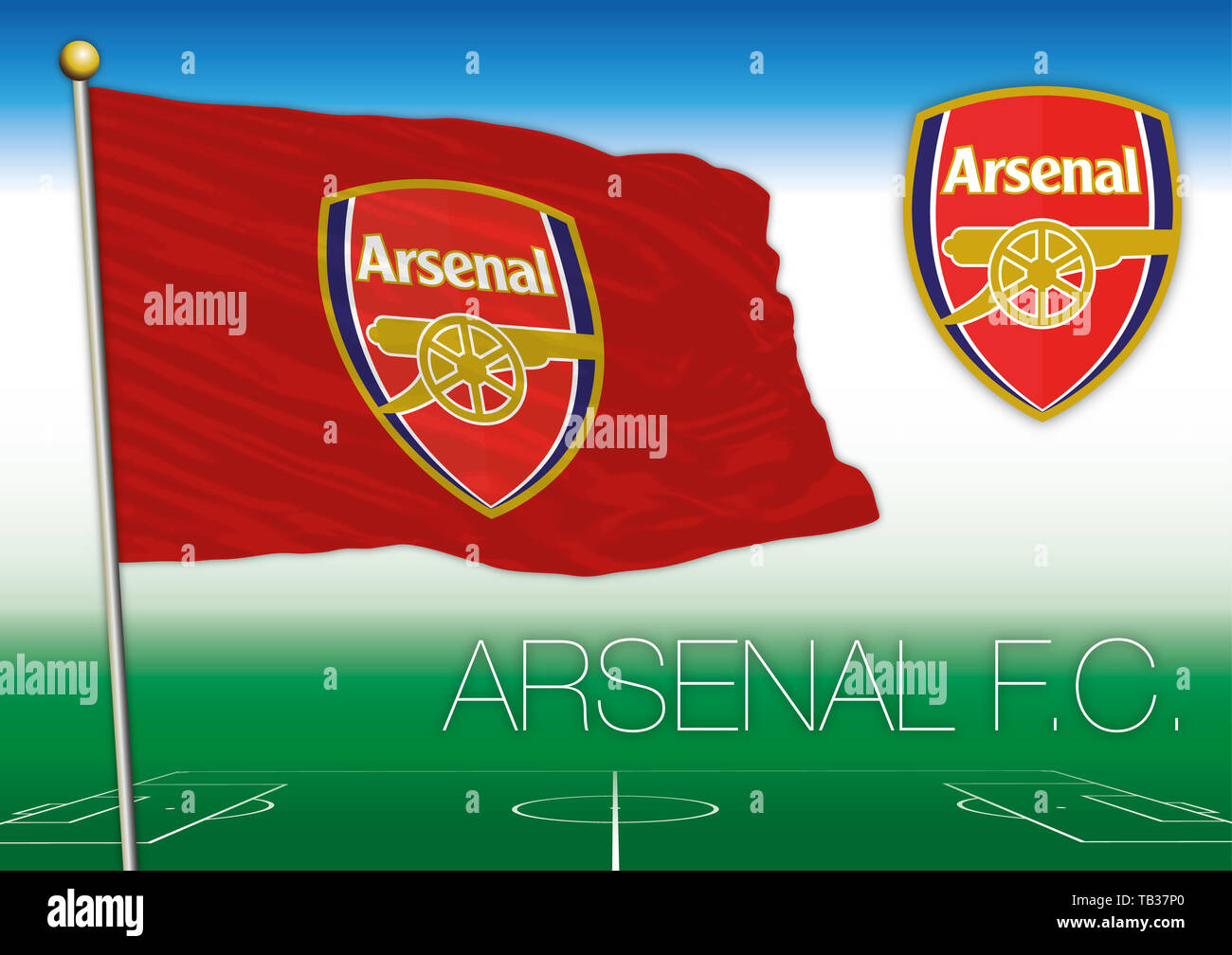 https www alamy com arsenal fc flag and symbol british football team vector illustration image247778328 html