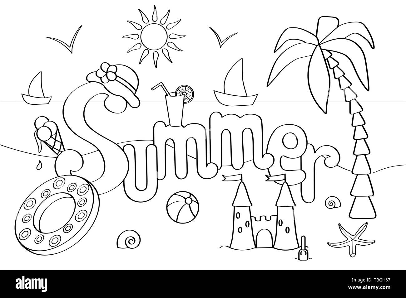 Vector Coloring Page On The Theme Of Summer Holidays At