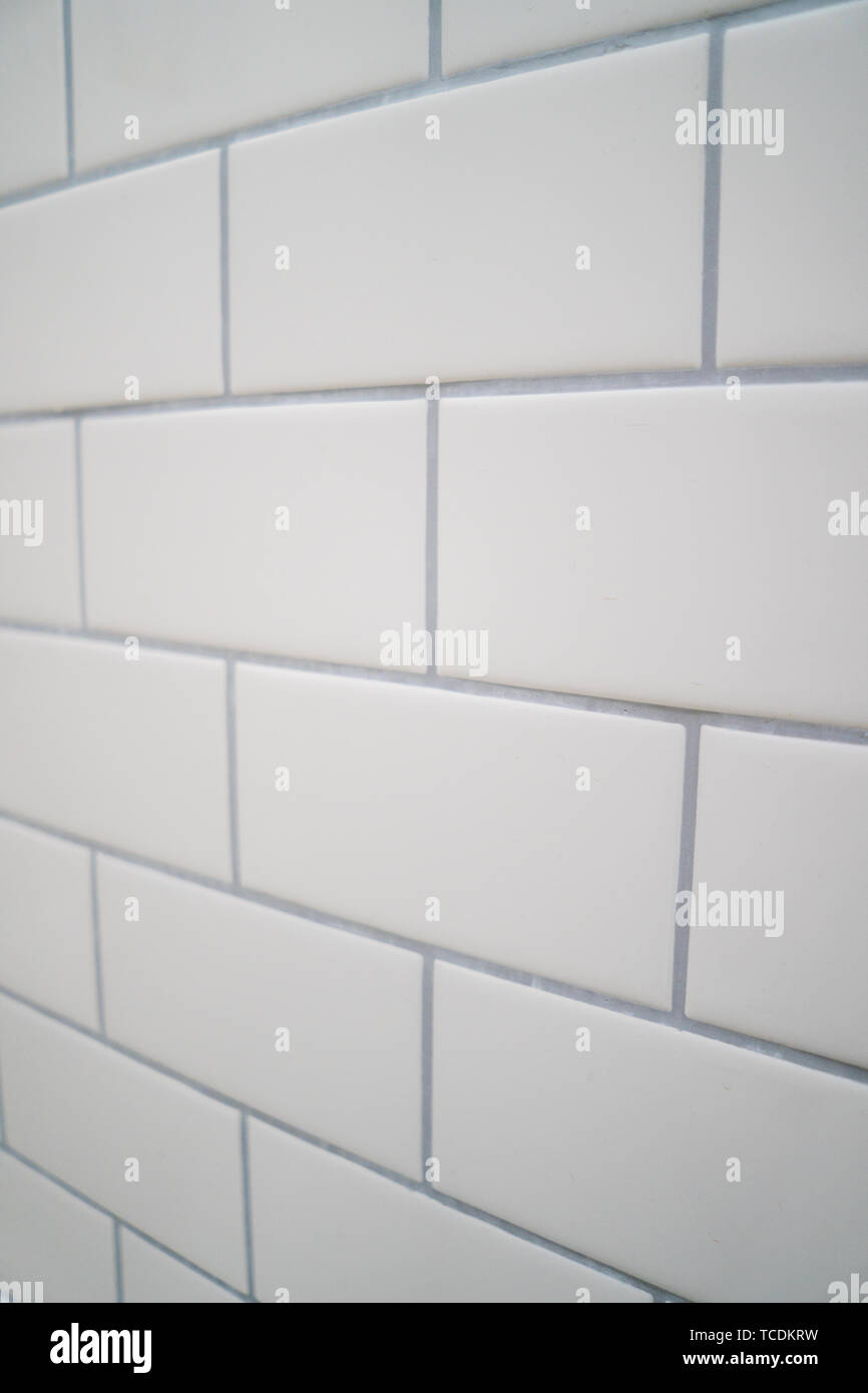 https www alamy com white subway tile with gray grout image248621965 html