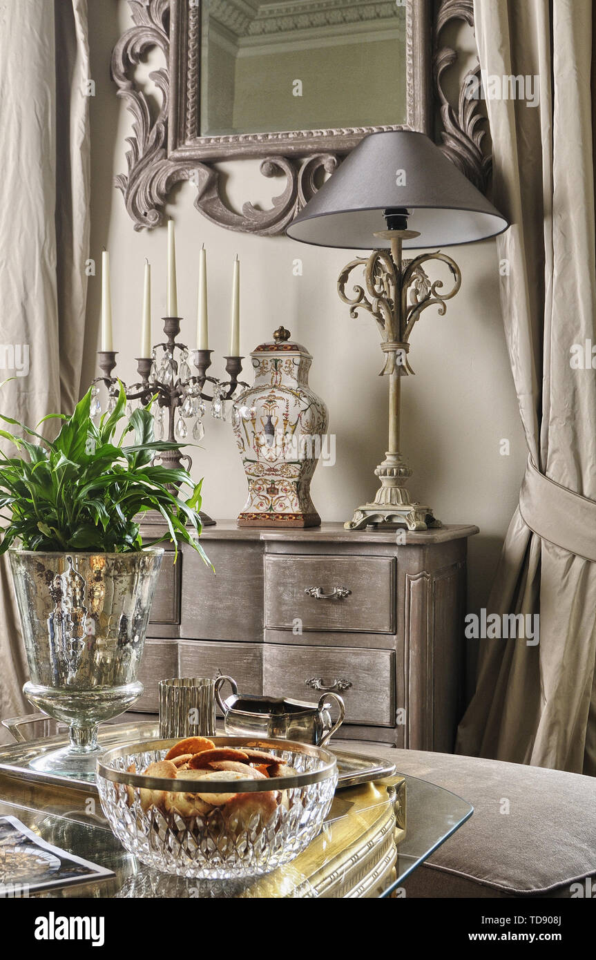 https www alamy com glass bowl and silver tray on glass topped coffee table in living room uk irish use only image249133490 html