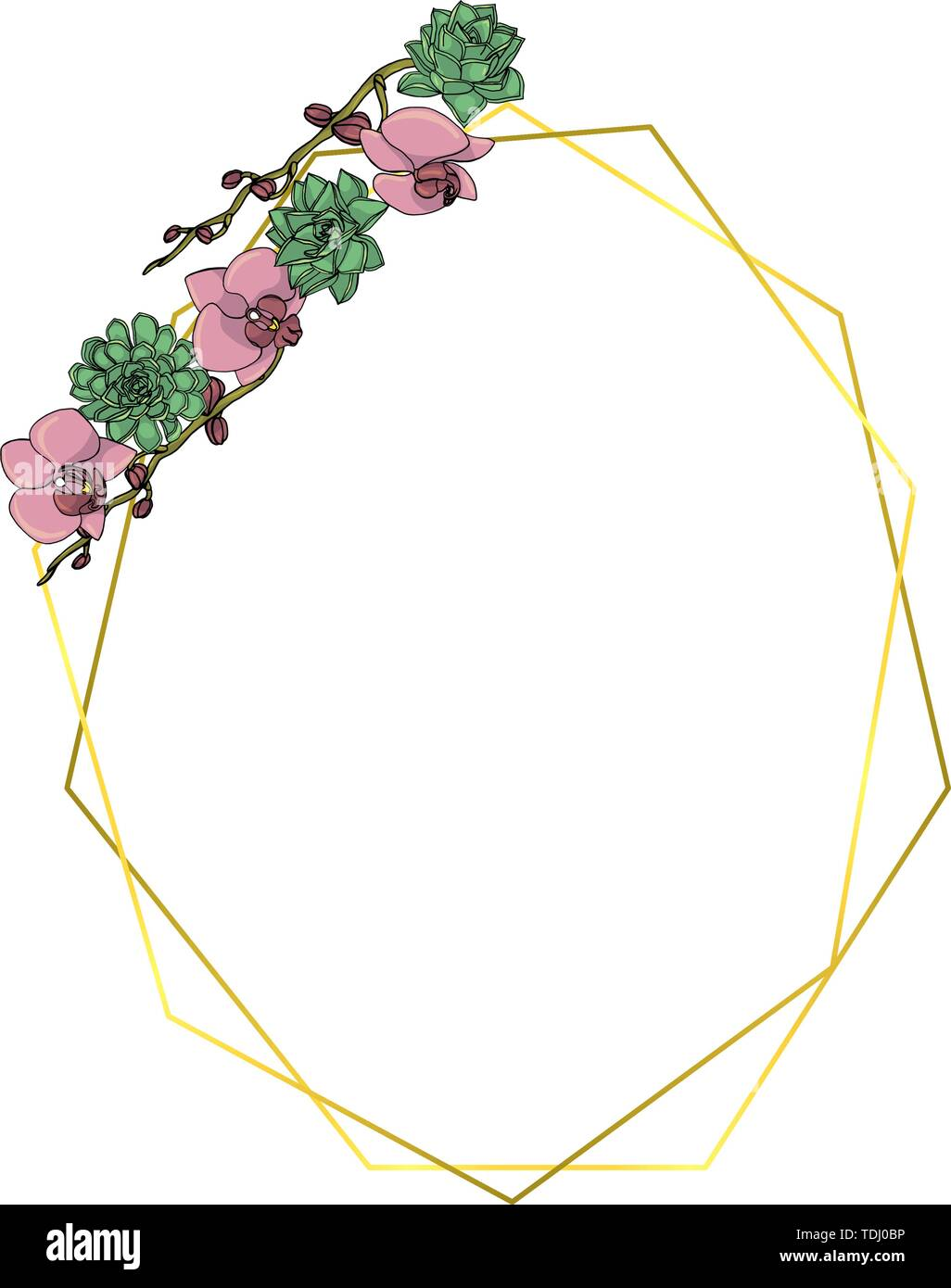 Hand Drawn Doodle Style Succulent And Orchid Flower Wreath With