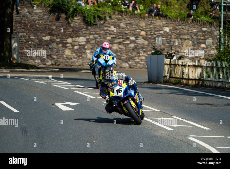 Motorcycle Racers At The Isle Of Man Tt
