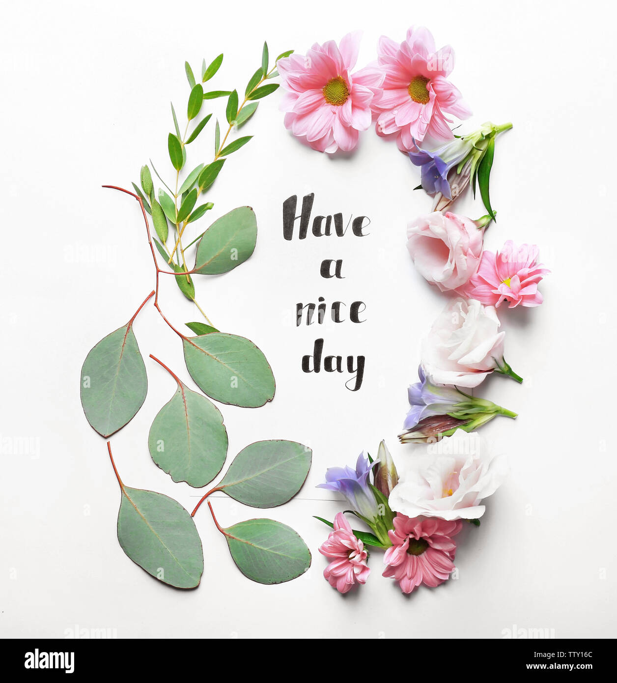 Inscription Have A Nice Day Written On Paper With Flowers And Leaves On White Background Stock Photo Alamy