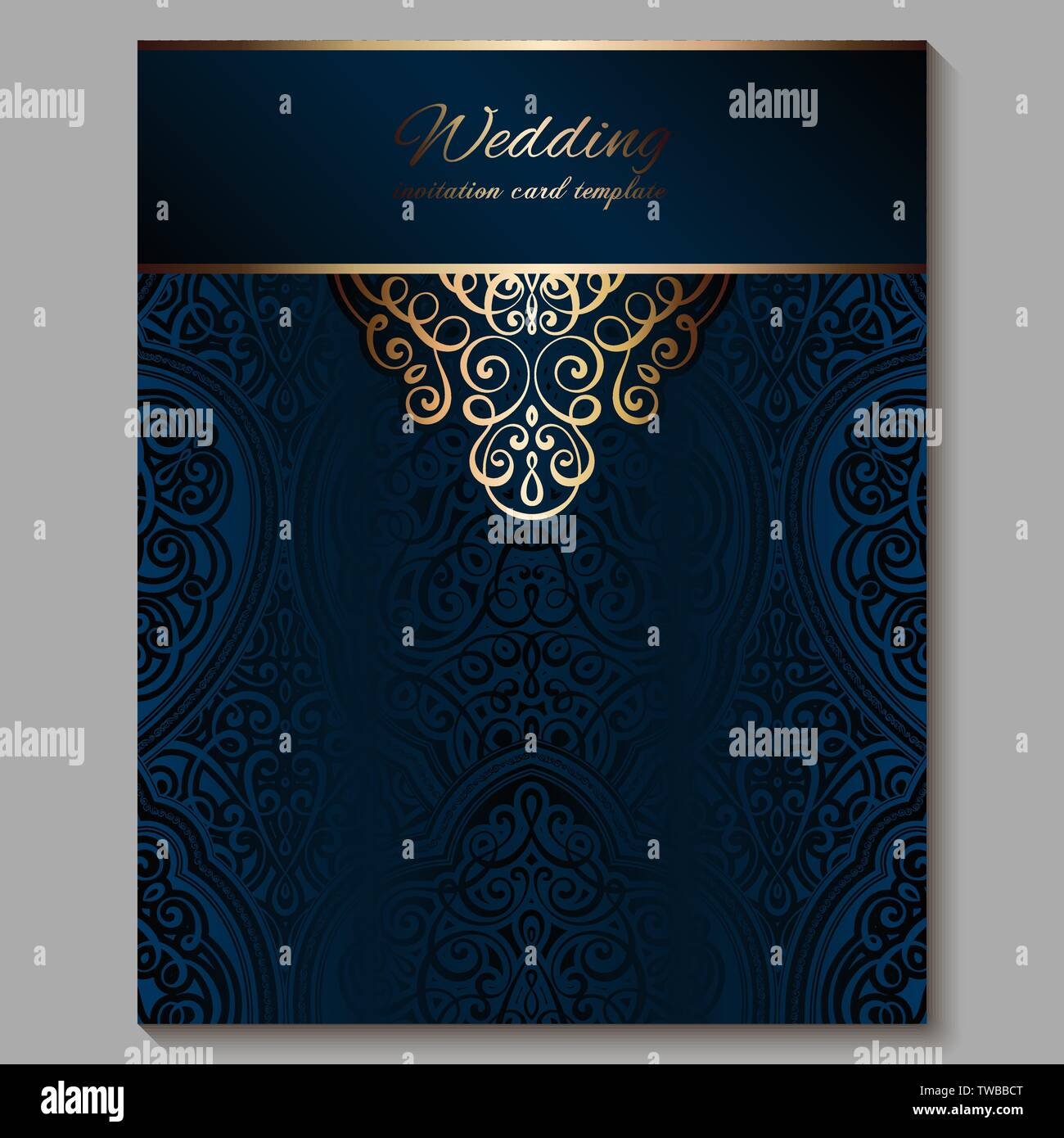 https www alamy com wedding invitation card with gold shiny eastern and baroque rich foliage royal blue ornate islamic background for your design islam arabic indian image256562008 html