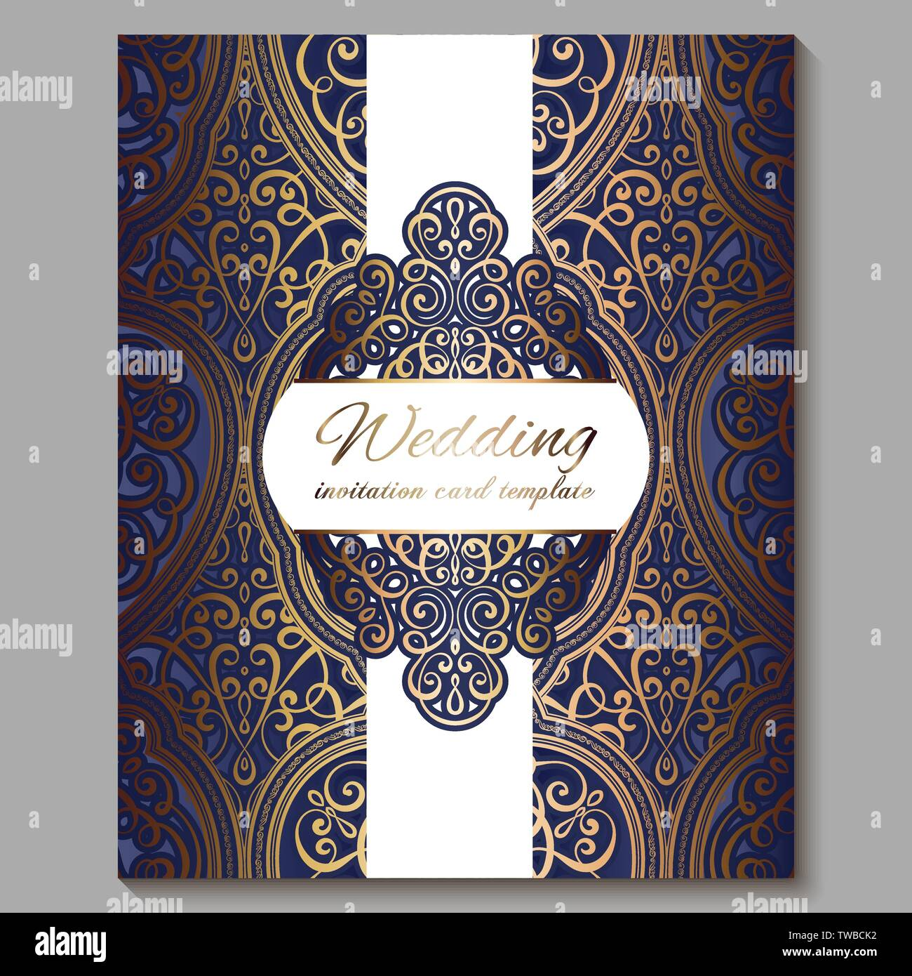 https www alamy com wedding invitation card with gold shiny eastern and baroque rich foliage royal blue ornate islamic background for your design islam arabic indian image256562966 html