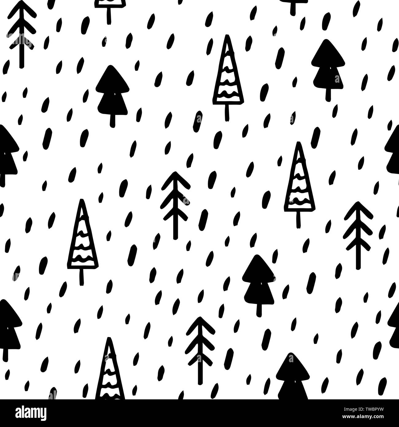 Hand Draw Christmas Tree Seamless Pattern In Doodle Style Vector