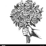 Hand Gives A Bouquet Of Roses Greeting Card Hand Drawn Vector Illustration Realistic Sketch Stock Vector Image Art Alamy