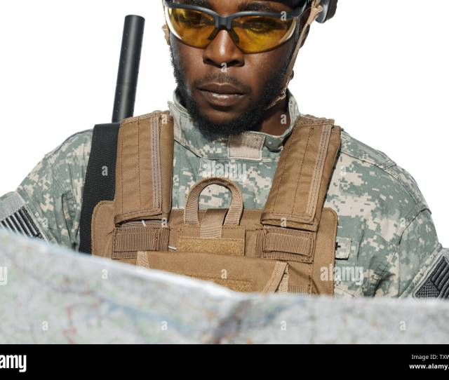 Close Up Of African Soldier Wearing American Army Uniform Looking