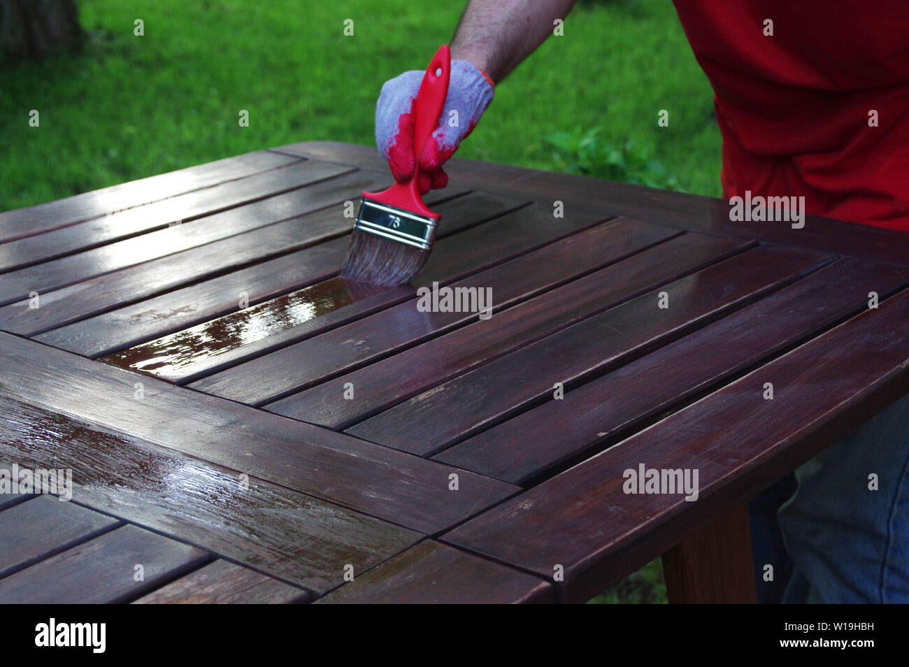 Garden Furniture Brush Painting Hand Painting The Wooden Table Outdoor Stock Photo Alamy