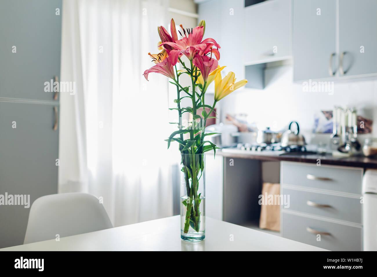 Colorful Lilies Modern Kitchen Design Interior Of White