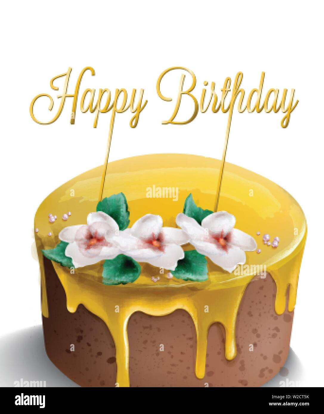 Happy Birthday Cake Vector Watercolor Yellow Top Golden Text And Flowers Decor Stock Vector Image Art Alamy