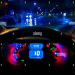 Driving By Night Dashboard Stock Photo Alamy