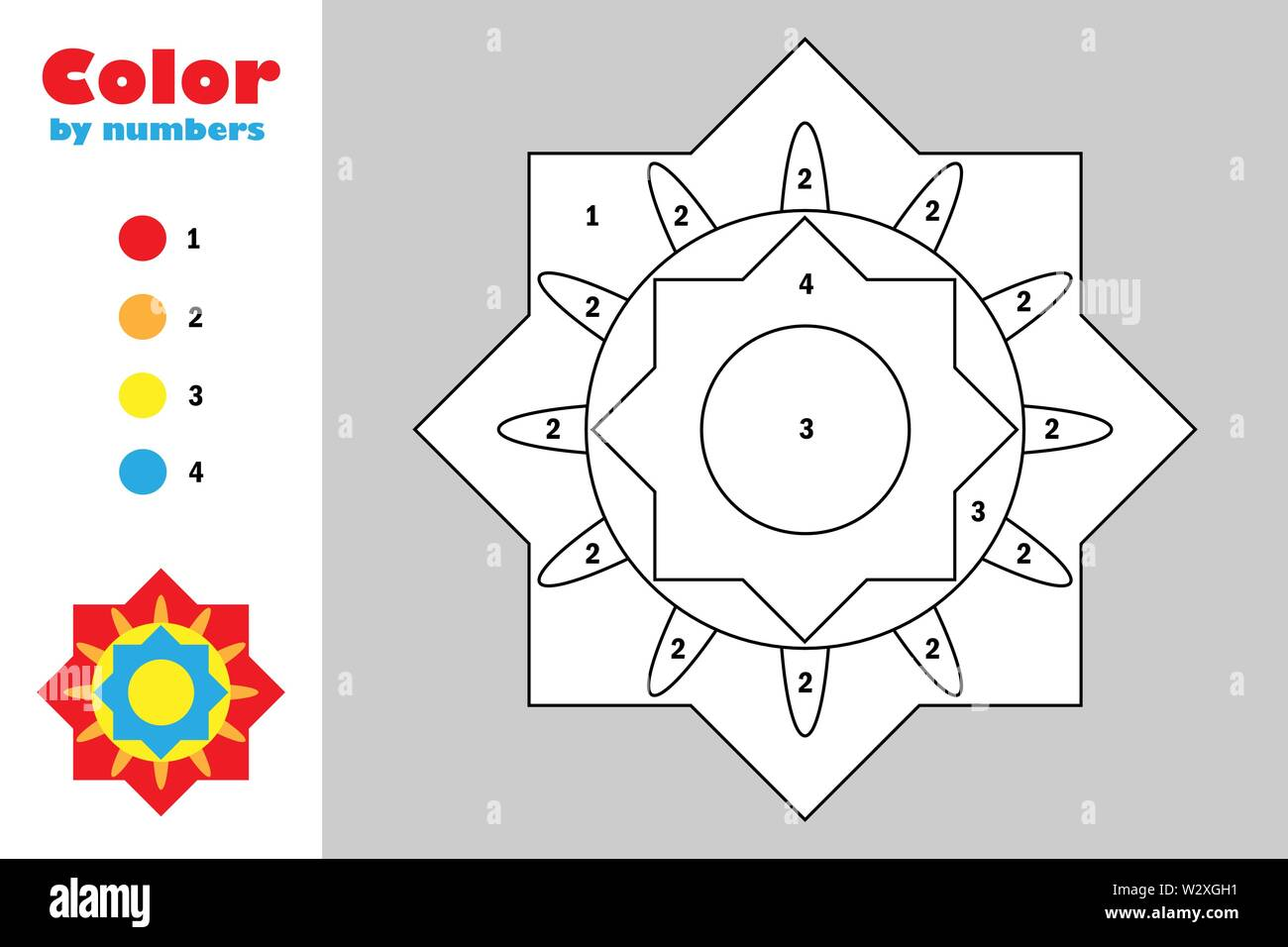 Colorful Mandala In Cartoon Style Color By Number